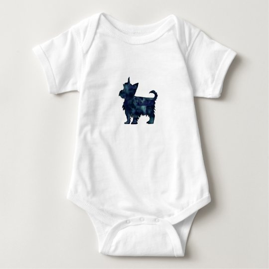 Yorkie Terrier Black Watercolor Silhouette Baby Bodysuit