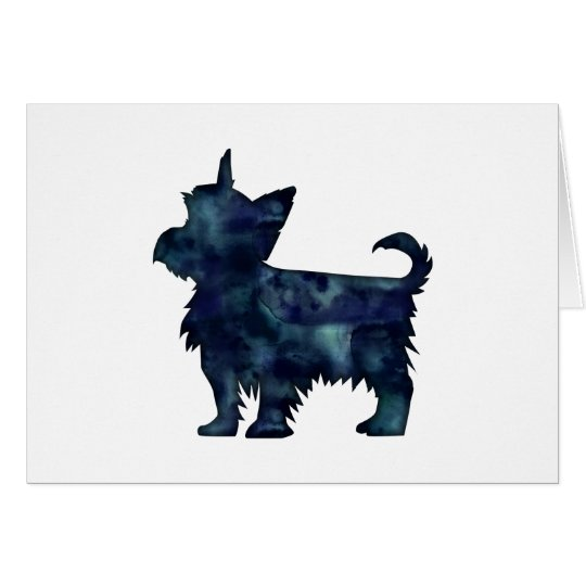 Yorkie Terrier Black Watercolor Silhouette Card