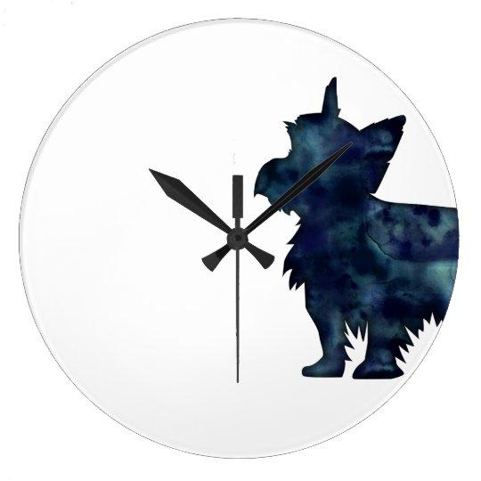 Yorkie Terrier Black Watercolor Silhouette Clocks