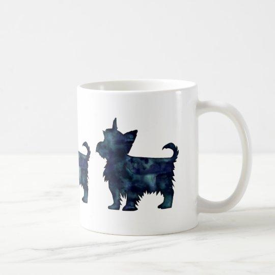 Yorkie Terrier Black Watercolor Silhouette Coffee Mug