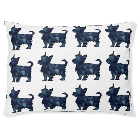 Yorkie Terrier Black Watercolor Silhouette Pet Bed