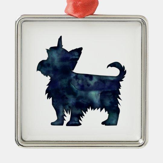 Yorkie Terrier Black Watercolor Silhouette Silver-Colored Square Ornament