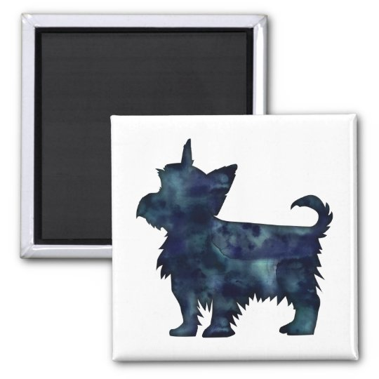 Yorkie Terrier Black Watercolor Silhouette Square Magnet