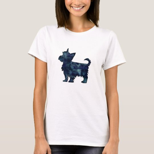 Yorkie Terrier Black Watercolor Silhouette T-Shirt