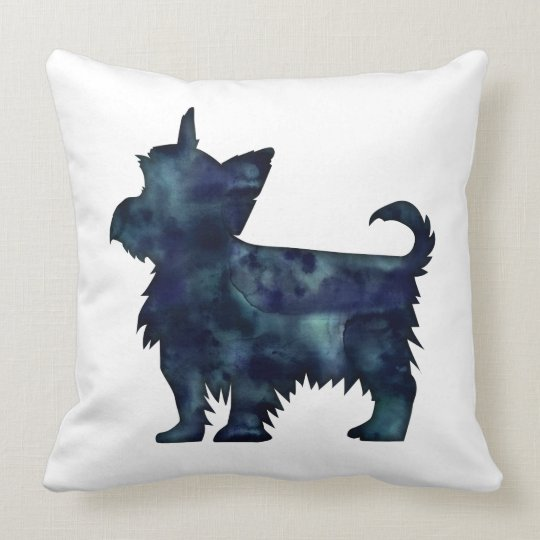 Yorkie Terrier Black Watercolor Silhouette Throw Pillow