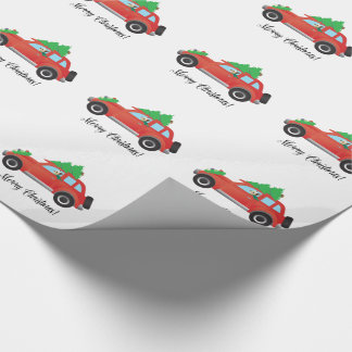 Yorkie Terrier dog Driving a Christmas Car Wrapping Paper