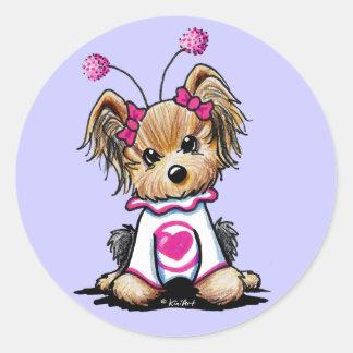 Yorkie Terrier Love Bug Round Sticker