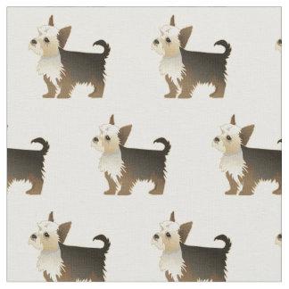 Yorkie Terrier Silhouette Tiled Fabric - Basic