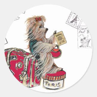 Yorkie Travelling Paris Round Sticker