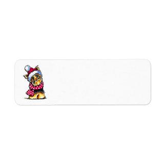 Yorkie Winter Scarf Polka Dots Return Address Label