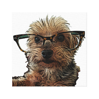 Yorkie with Glasses Canvas Print