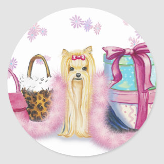 Yorkie Yorkshire Terrier with Feather Boa Round Sticker