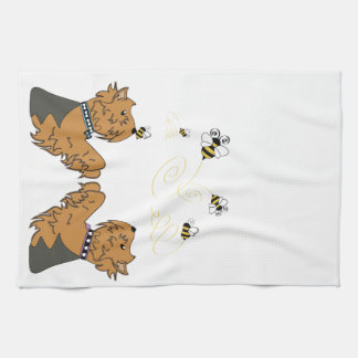 Yorkies and bees kitchen towel