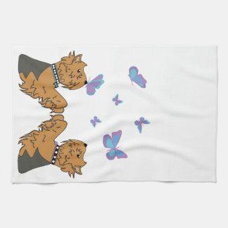 Yorkies and Butterflies Kitchen Towel
