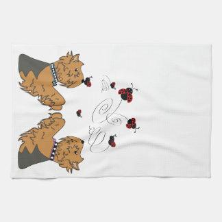 Yorkies and Ladybirds Kitchen Towel