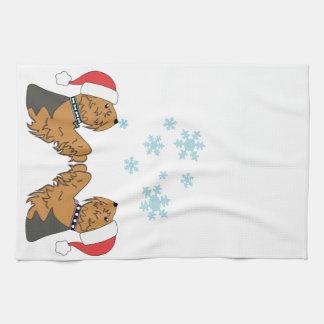 Yorkies and Snowflakes Kitchen Towel