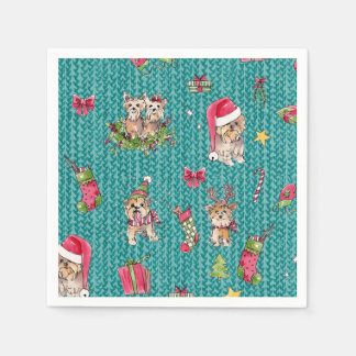 Yorkies at Christmas Paper Napkin