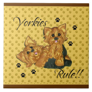 Yorkies  Rule Pawprint Tile
