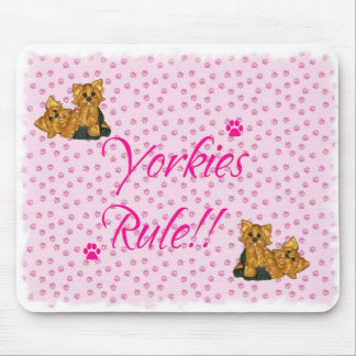 Yorkies Rule!! Pink Paw Print Mouse Pad