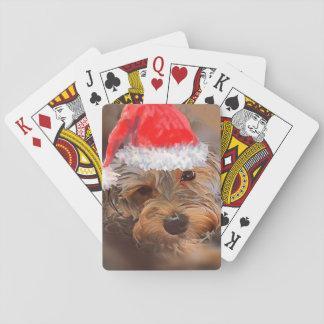 Yorkipoo playing cards Christmas theme