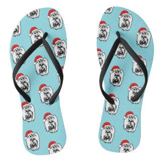 Yorkshier Terrier Dog Christmas Santa Hat Flip Flops