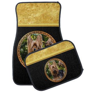 Yorkshire brown and black terrier gold foil design car mat