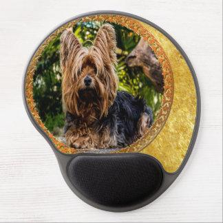 Yorkshire brown and black terrier gold foil design gel mouse pad