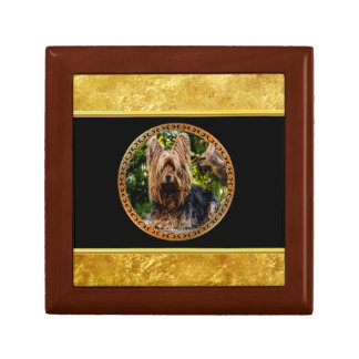 Yorkshire brown and black terrier gold foil design gift box