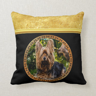 Yorkshire brown and black terrier gold foil design throw pillow