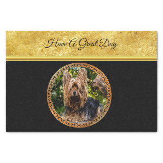 Yorkshire brown and black terrier gold foil design tissue paper