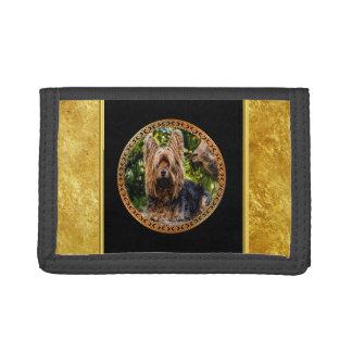 Yorkshire brown and black terrier gold foil design trifold wallet