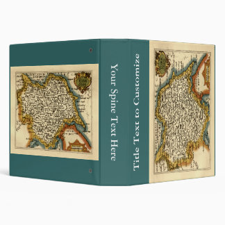 Yorkshire County Map, England Vinyl Binder