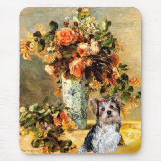 Yorkshire Terrier (Biewer) -Vase of Flowers Mouse Pad