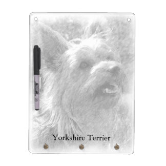 Yorkshire Terrier, Black & White, with Pen Dry-Erase Whiteboards