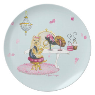 Yorkshire Terrier Boudoir Dress Up Plate