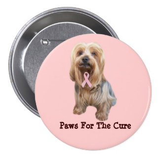 Yorkshire Terrier Breast Cancer Button