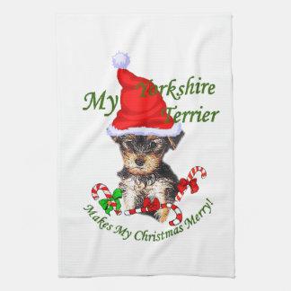 Yorkshire Terrier Christmas Kitchen Towel
