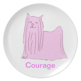 Yorkshire Terrier Courage Cancer Awareness Plate