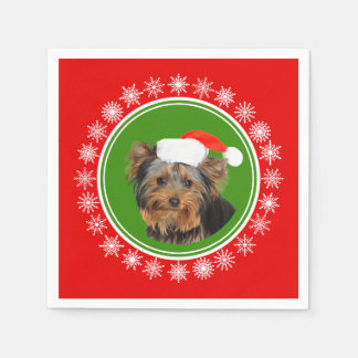 Yorkshire Terrier Cute Santa Hat Christmas Paper Napkin