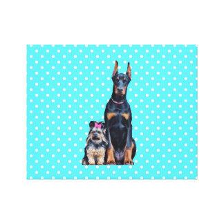 Yorkshire Terrier Doberman Blue Polka Dots Canvas Print