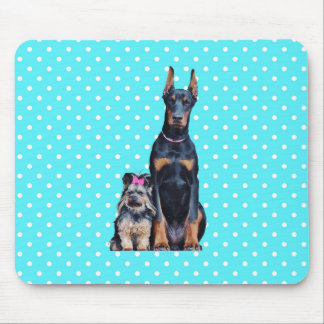 Yorkshire Terrier Doberman Blue Polka Dots Mouse Pad