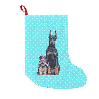 Yorkshire Terrier Doberman Blue Polka Dots Small Christmas Stocking