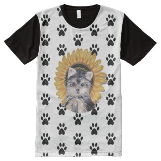 Yorkshire Terrier Dog and Paw Pattern All-Over-Print T-Shirt