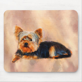 Yorkshire Terrier Dog Art Watercolor Portrait Mouse Pad