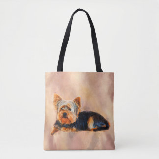 Yorkshire Terrier Dog Art Watercolor Portrait Tote Bag