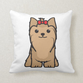 Yorkshire Terrier Dog Cartoon Throw Pillow
