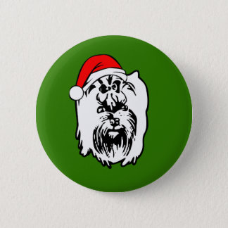 Yorkshire Terrier Dog Christmas Santa Hat 2 Inch Round Button