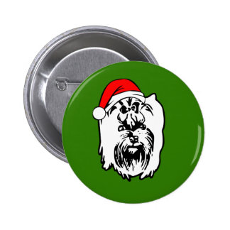 Yorkshire Terrier Dog Christmas Santa Hat 2 Inch Round Button