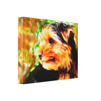 Yorkshire Terrier Dog Watercolor Art Portrait Canvas Print