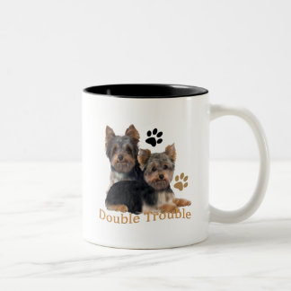 Yorkshire Terrier Double Trouble Gifts Two-Tone Coffee Mug